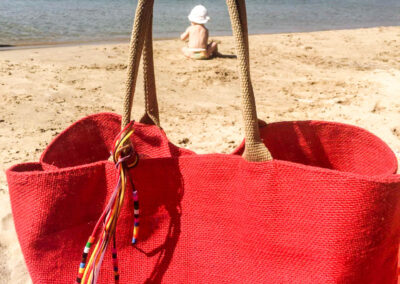 Lemonical Jute Tote Bag at the Beach
