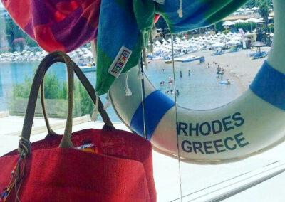Lobster & Dragon Beach Towels at Rhodos, Greece