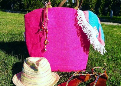 Bubble Gum Roundie with Pink Jute Tote Bag by Lemonical